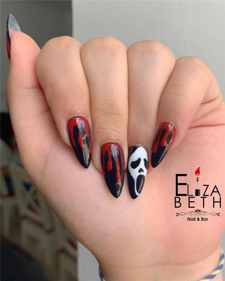 Red Drip Halloween Nails Idea
