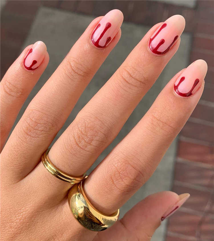 Simple Red Drip Halloween Nails