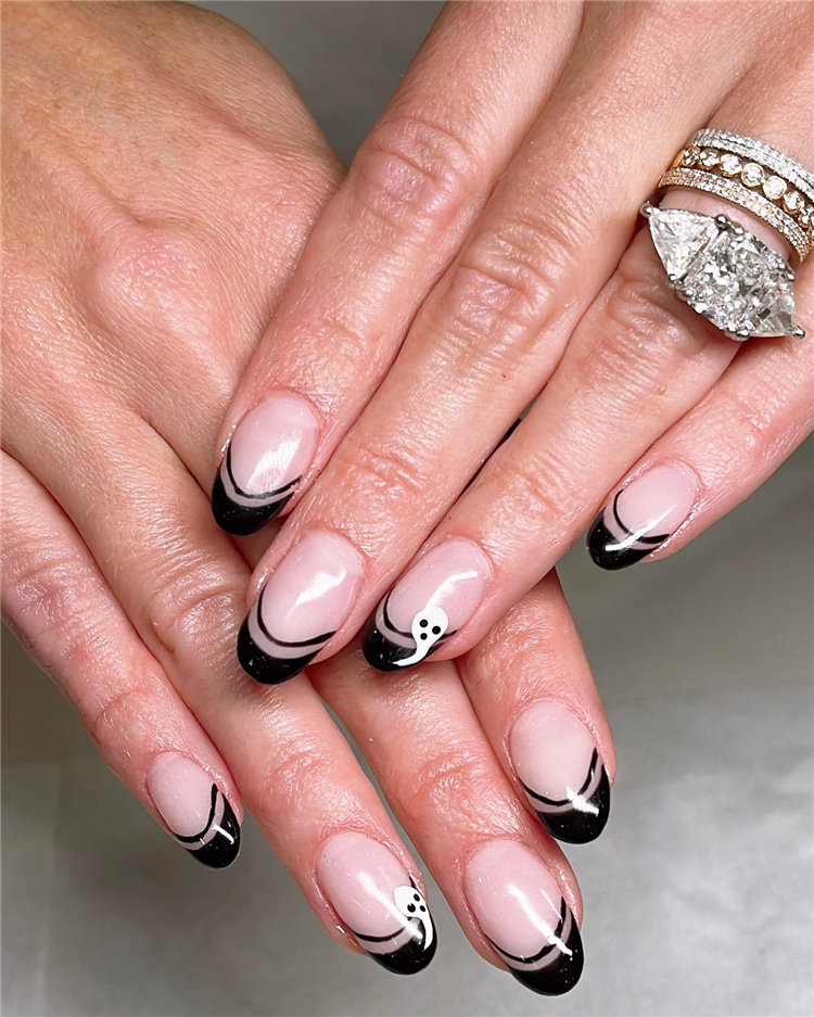 Black French Nails for Halloween