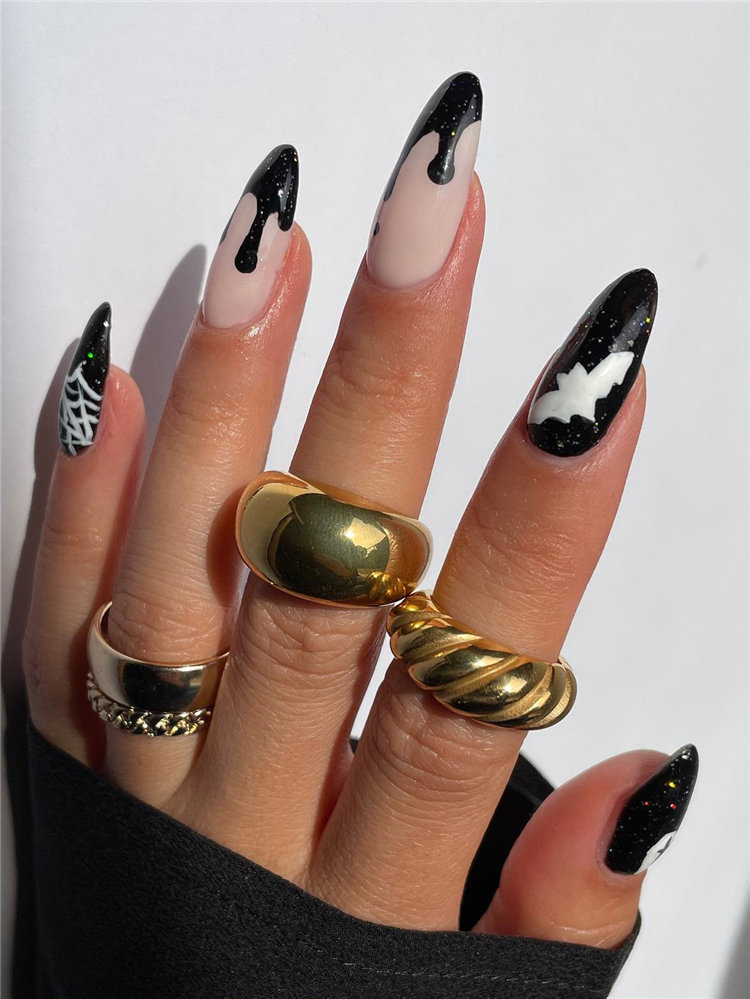 Bats, Spider and Drip Nails for Halloween