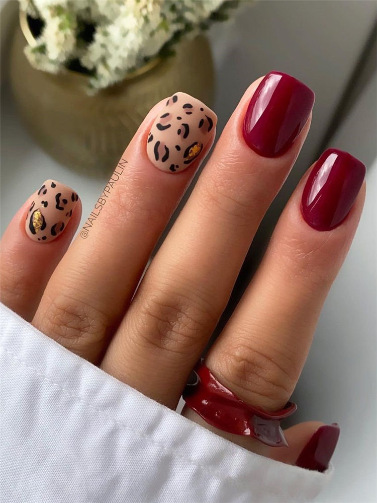 Autumn Maroon Nails and Leopard Nails