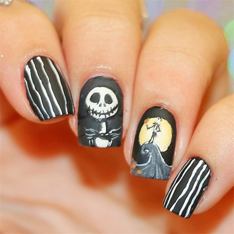 Black and White Stripes with Jack Skellington Face Halloween Nails