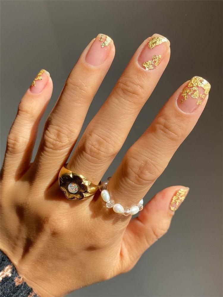 Gold Leaf Fall Nails Design
