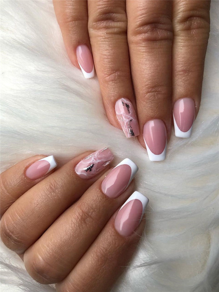 Simple French Nails and Mable Nails
