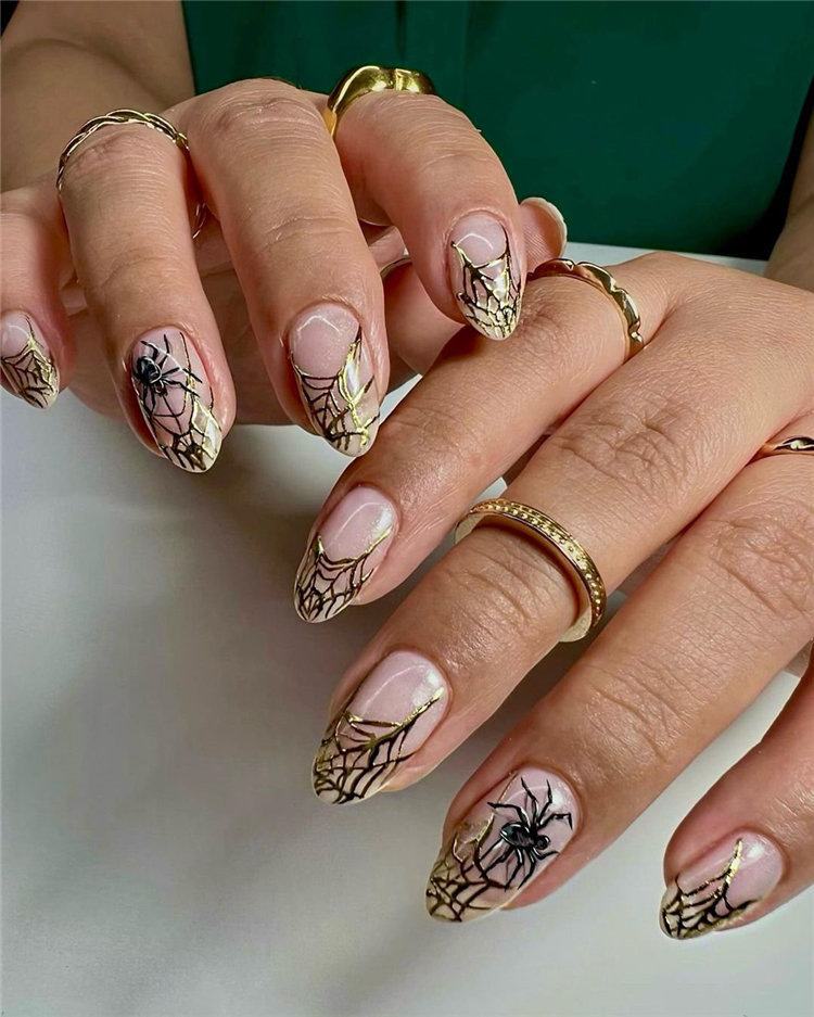 Halloween Gold Spider Web Nails Design