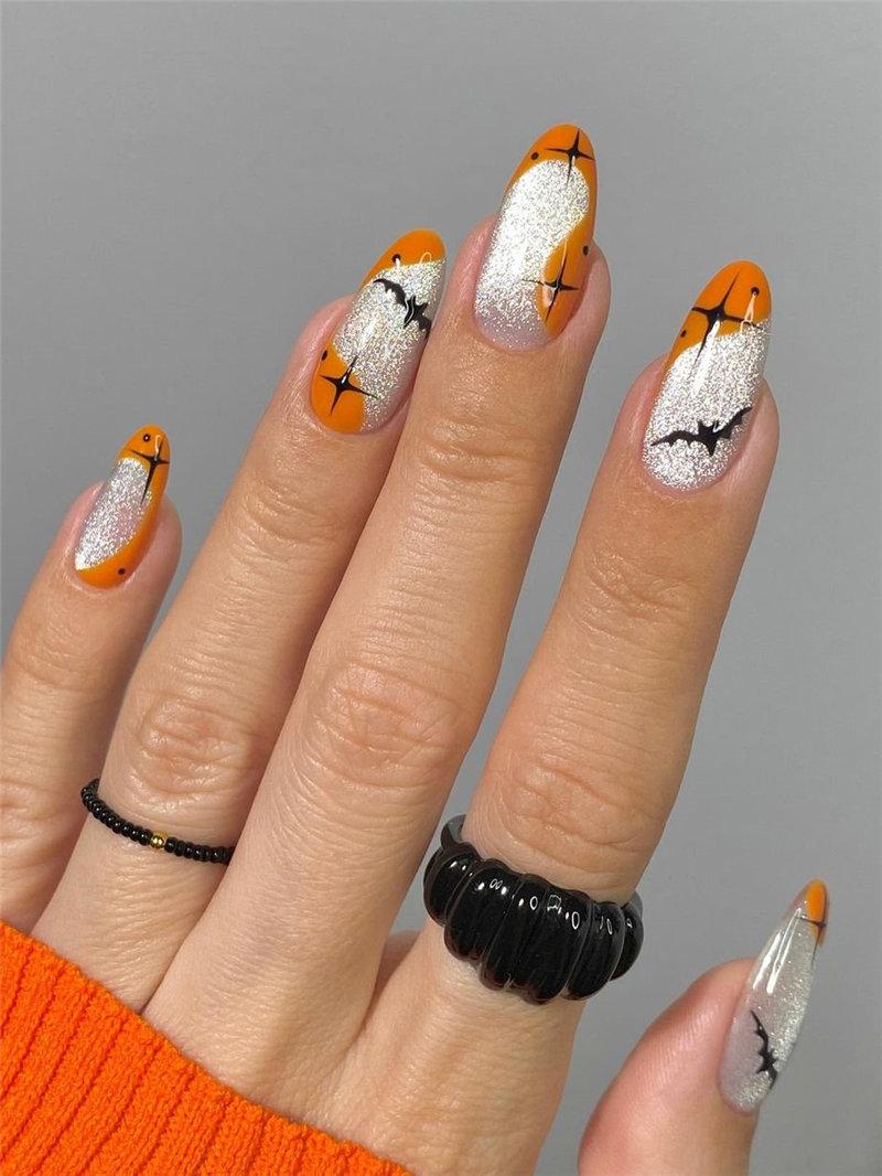 Spookly Bat Halloween Nails
