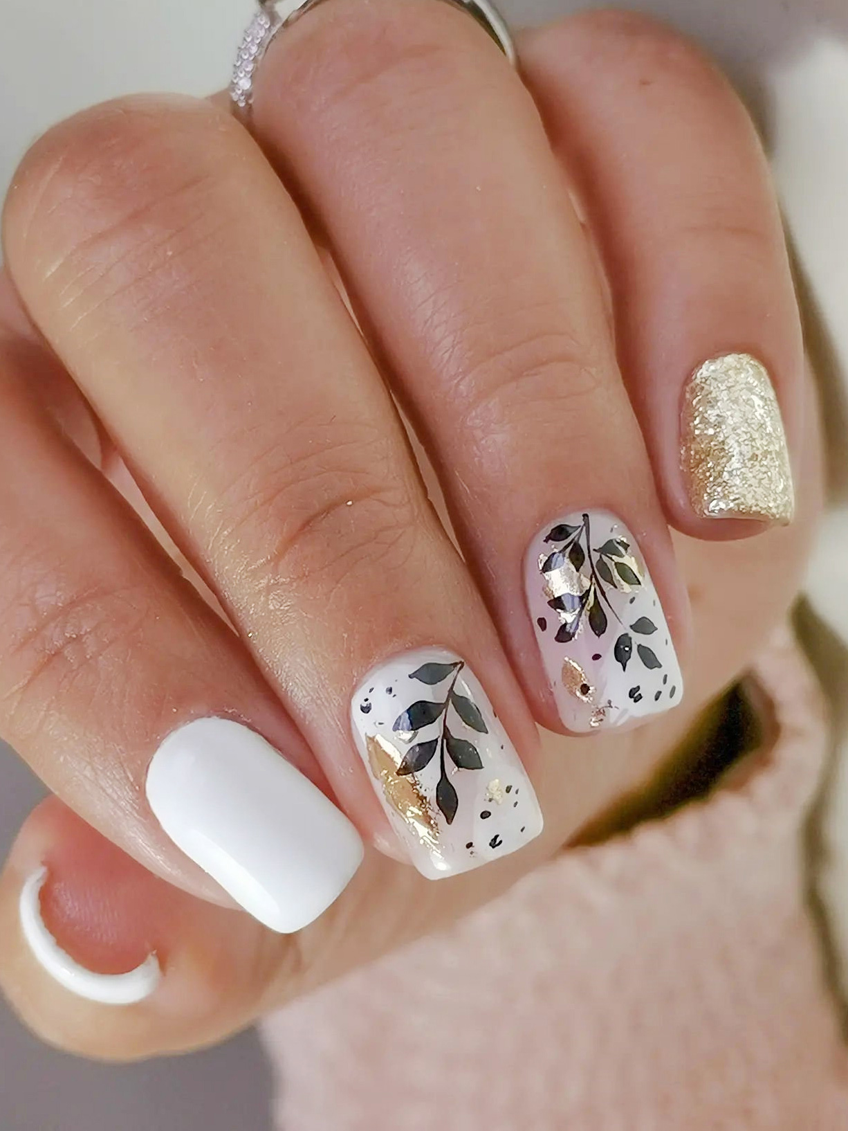 White and Black Fall Leaf Nails