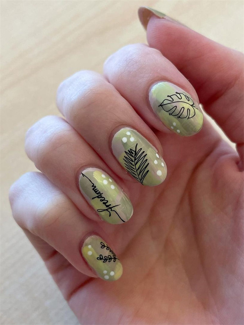 Abstract Plants Outline Nail Art Design