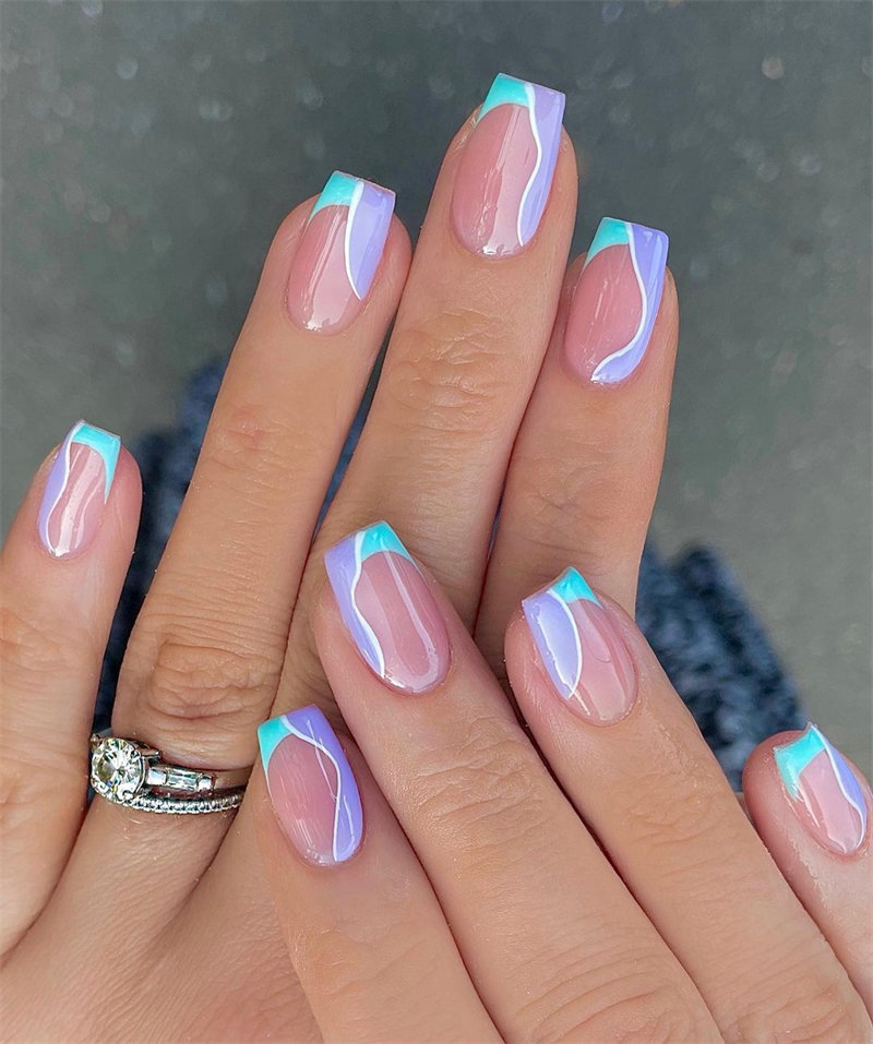 French Nails and Swrils Nails Design