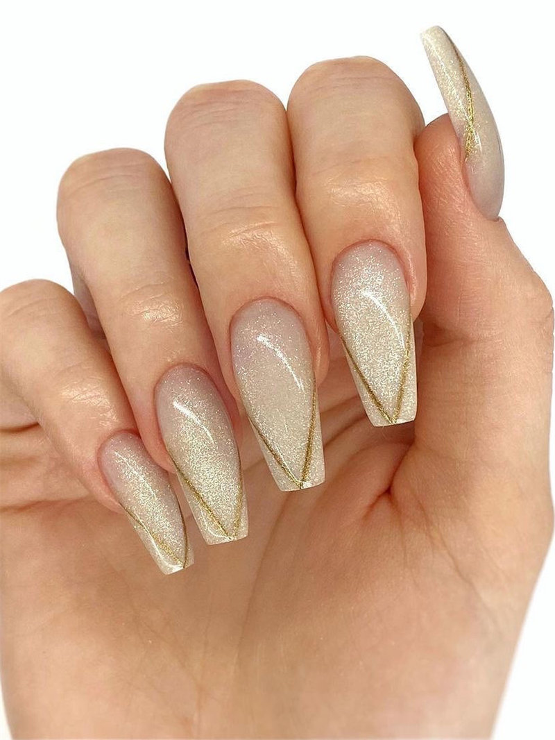 Thin Gold Outline French Tip Nail Design