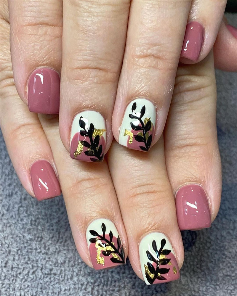 Brown Nails and Leaf Nails Idea