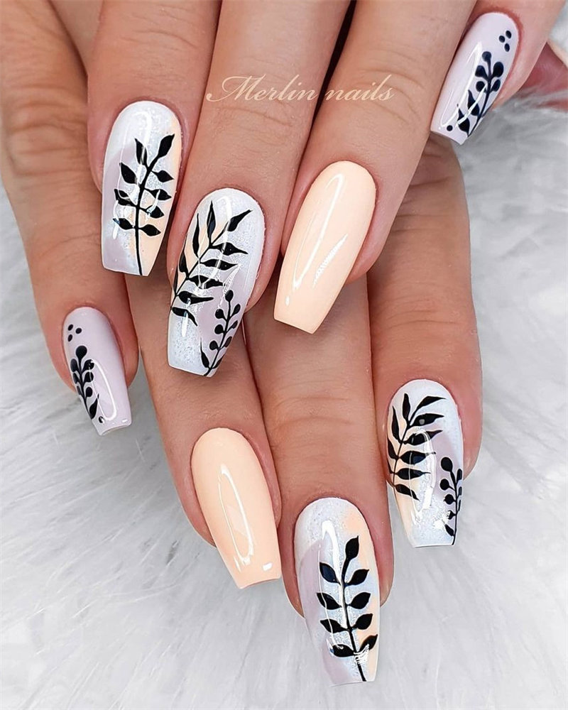 Long Coffin Nails with Black Leaf