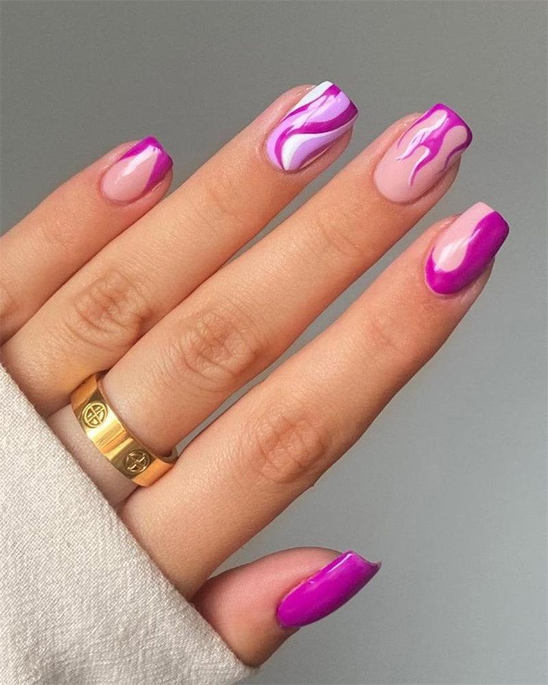 Purple Nails and Purple Flame Nails