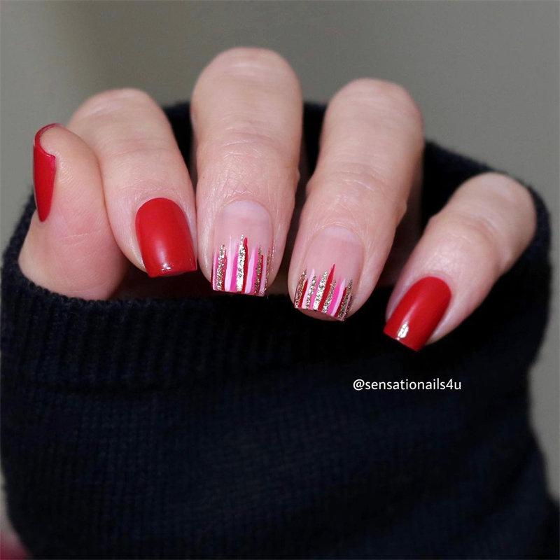 Red Nail Art and Stripes Nail Design