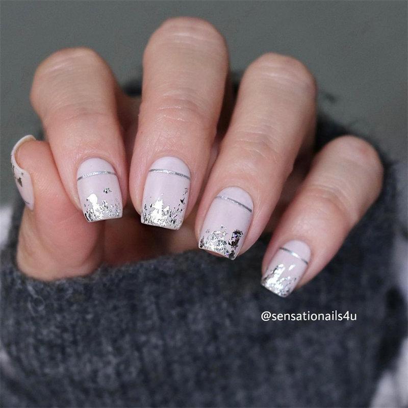 Silver Foil Nails Design for the Autumn