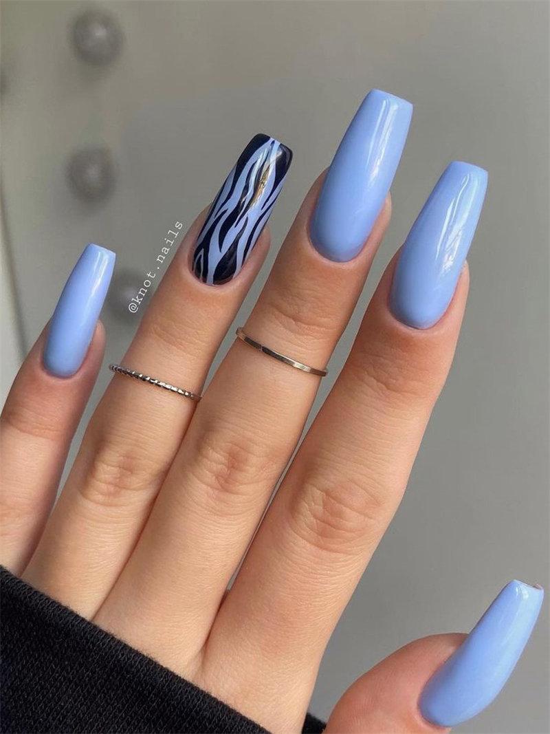 Long Blue Nail Art Idea for the Autumn