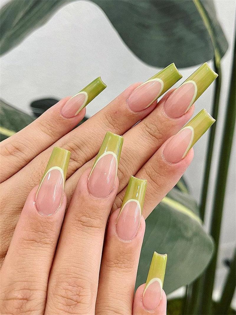 Trendy Olive French Nail Art