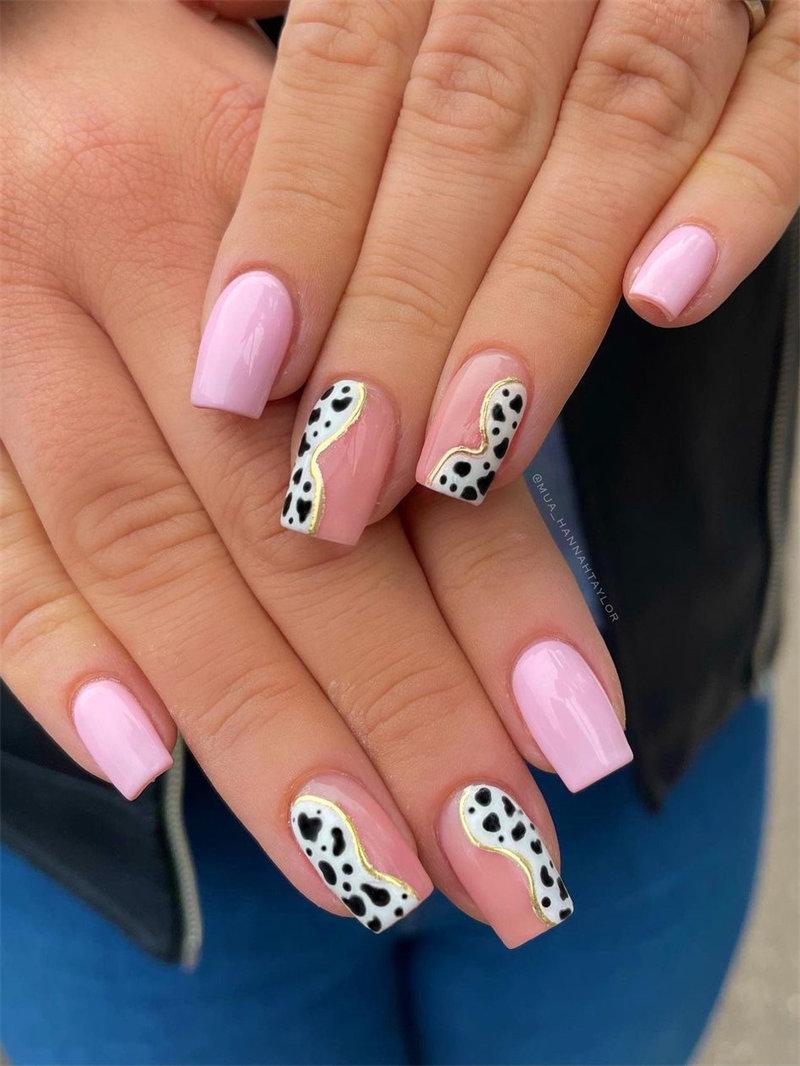 Pink Nail Art with Animal Print