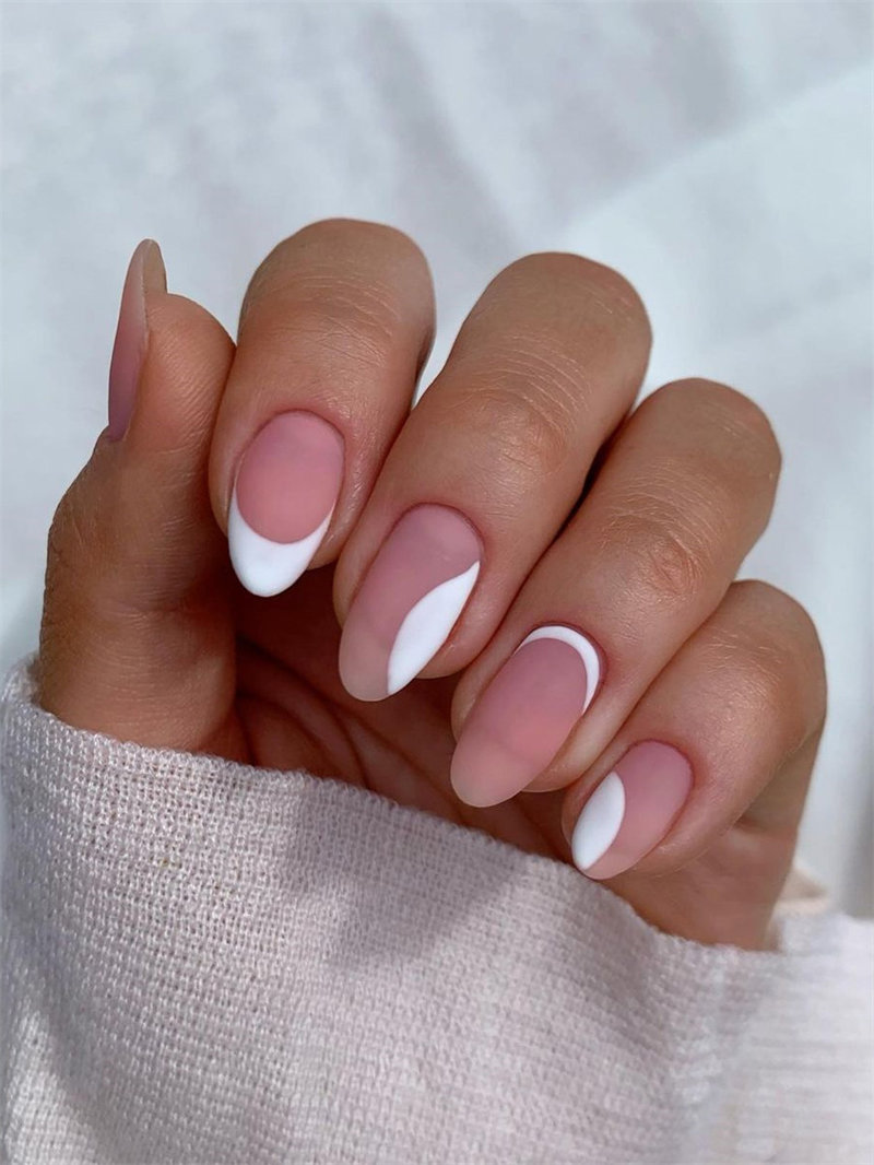 Classy Matte French Nail Design