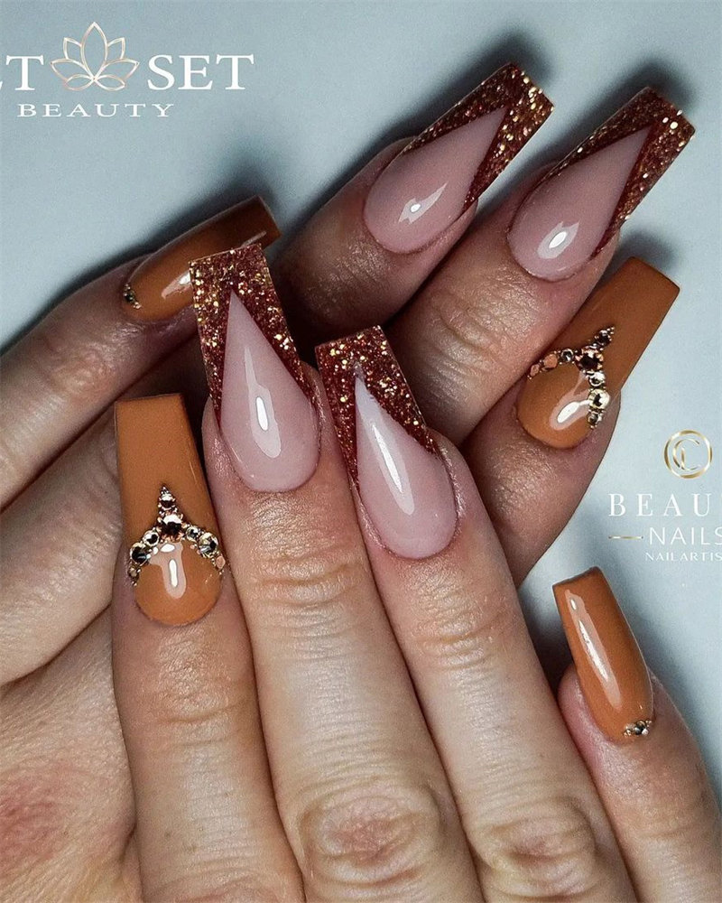 Gorgeous Brown Glitter French Manicure