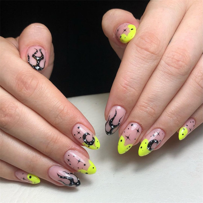 Galaxy French Nail Art for Halloween