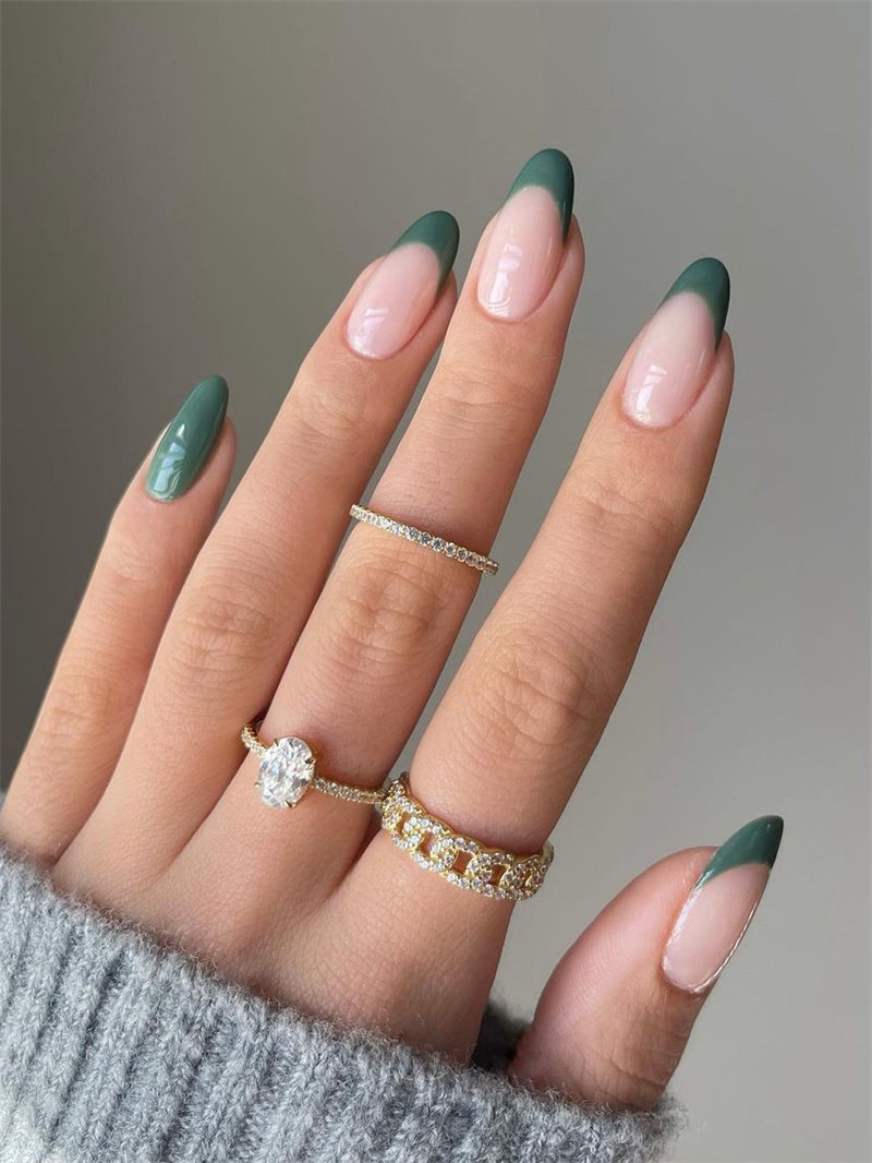 Simple Olive French Nail Art