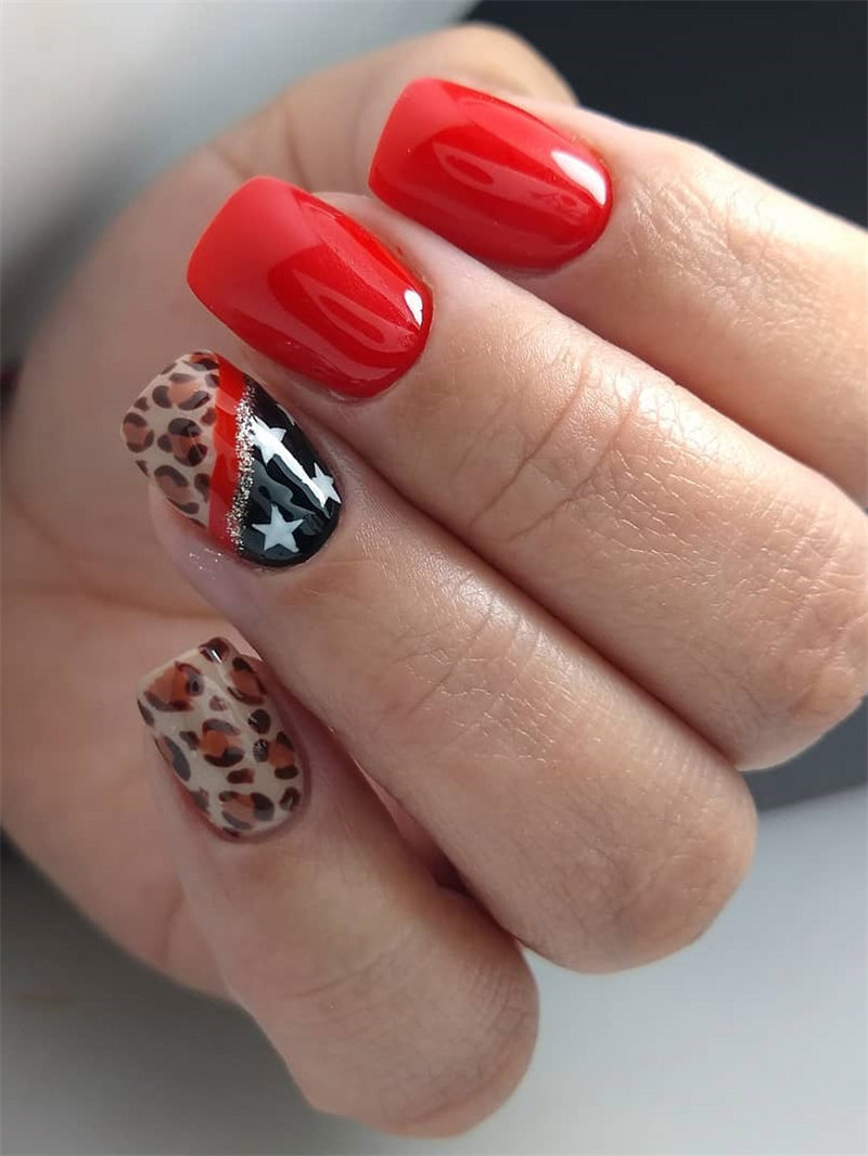Red Nails and Leopard Nail Design