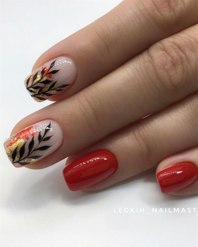 Red Nails and Leaf Nail Design
