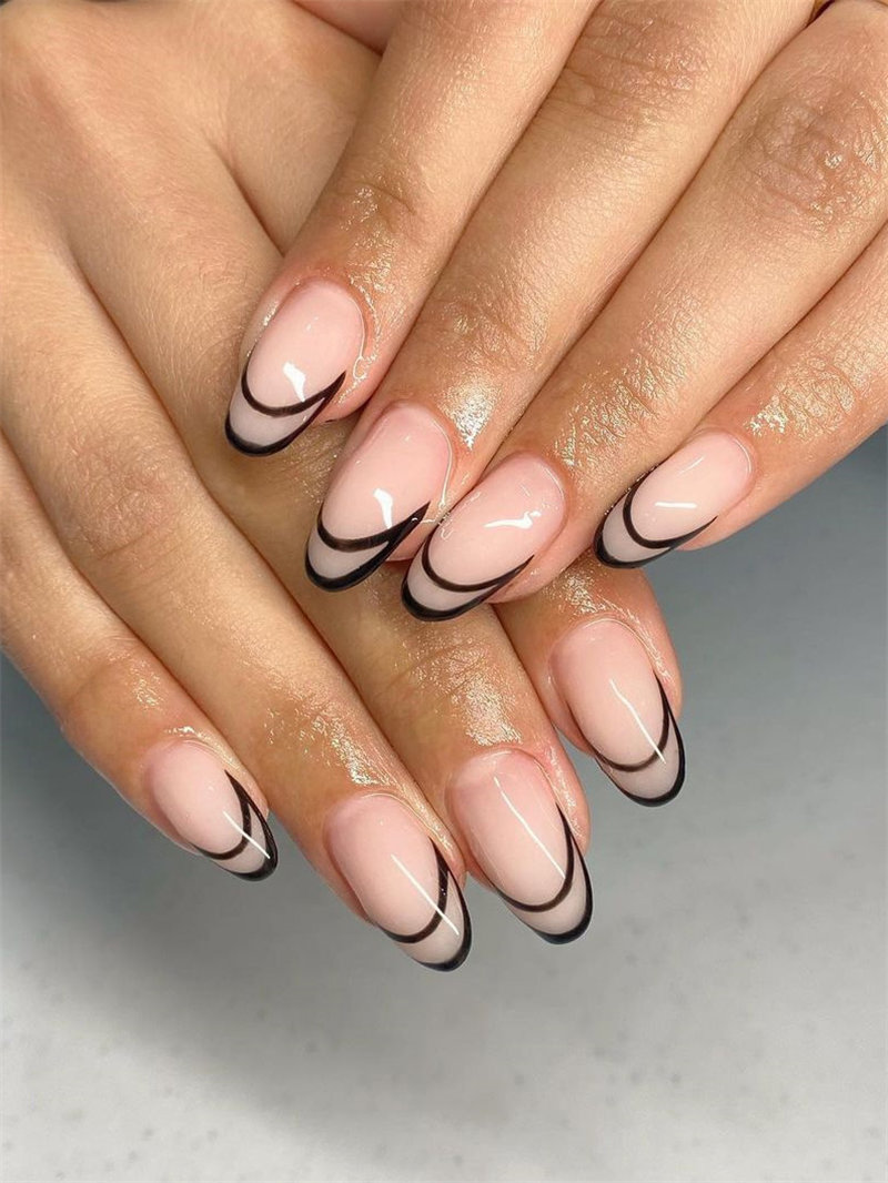 Double Black Outline French Nail Design