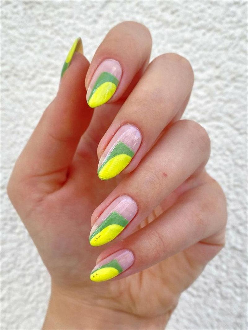 Neon Yellow and Green Nail Design
