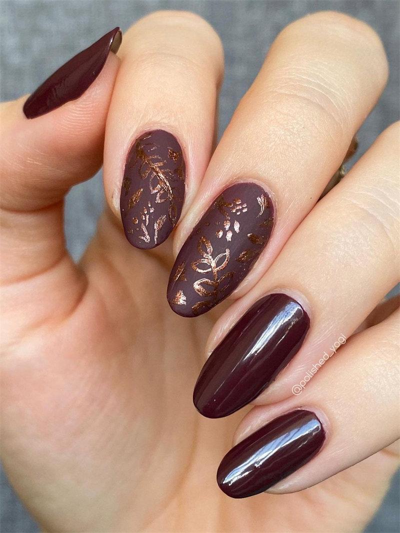 Matte and Glossy Maroon Nail Design