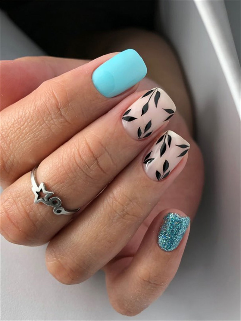 Matte and Leaf Nail Design