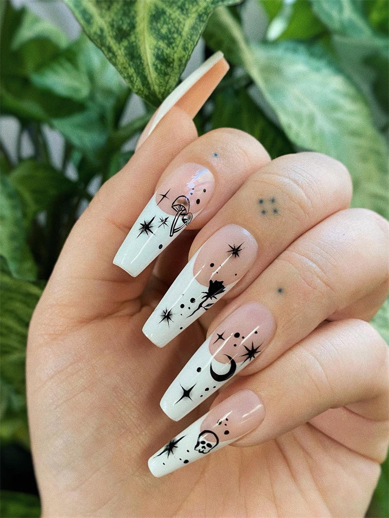 Galaxy French Nail Design