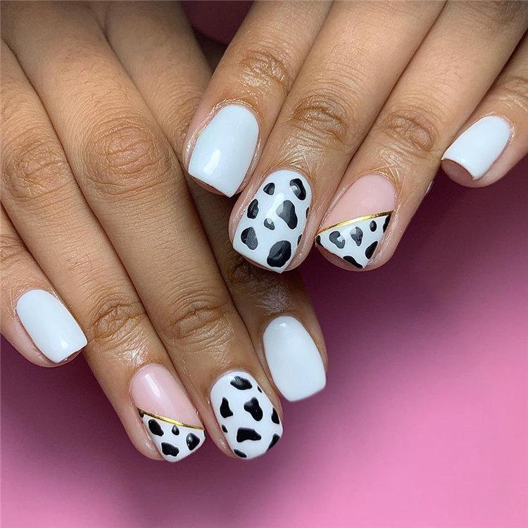 Cow Print Nails Design Idea