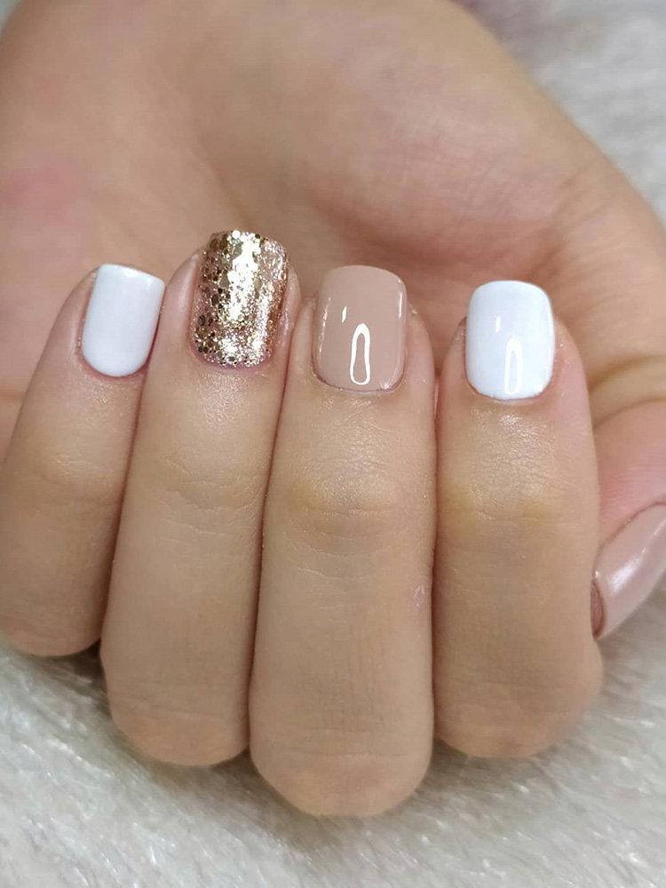 White, Nude and Glitter Nails Design
