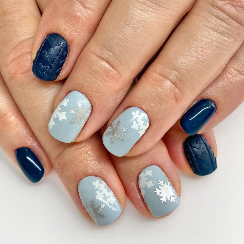 Sweater Nails and Snowflake Nail Art for Winter
