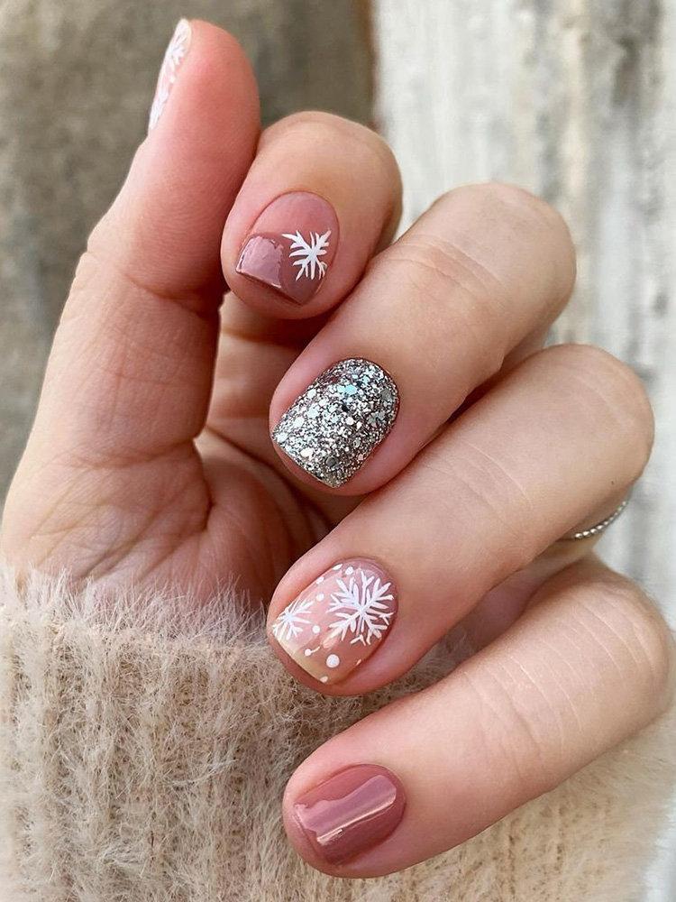 Glitter Snowflakes Nails Design and Idea