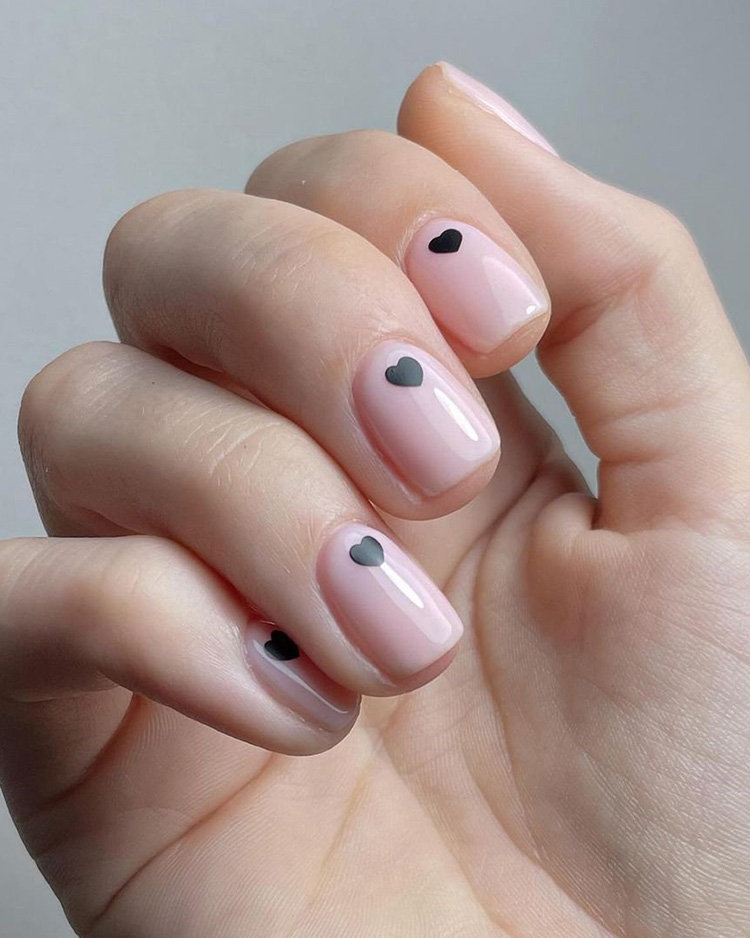 Nude Nails With Small Heart Shape