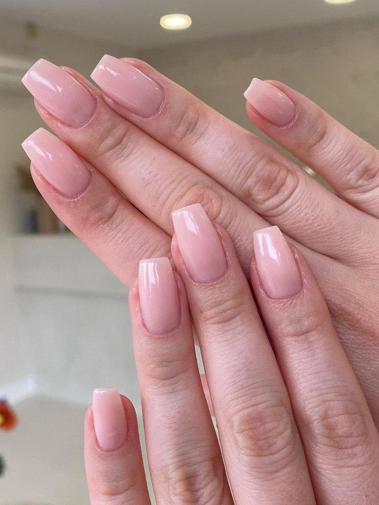 Natural Coffin Shape Manicure