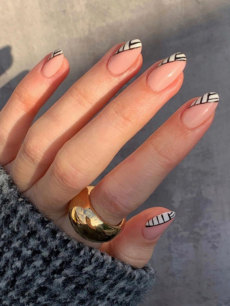 Black and White Stripe French Tips