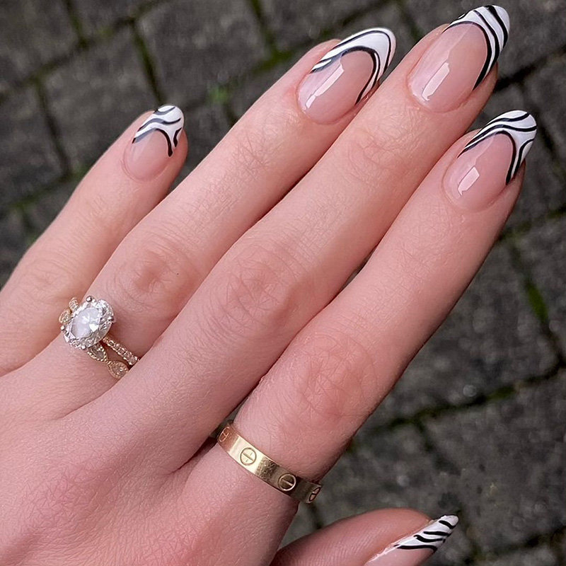 Black and White French Tip Nails