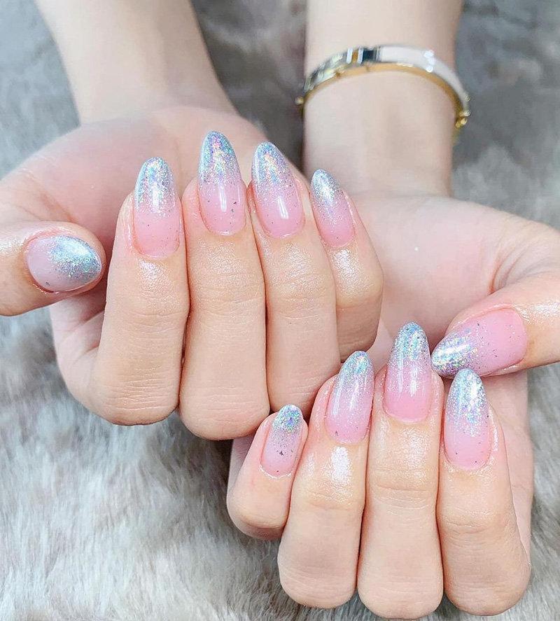 Glitter Almond Ombré Nails