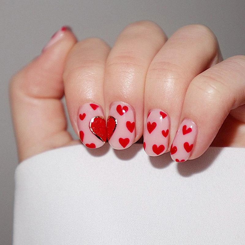 Cute Little Heart Shape Nails