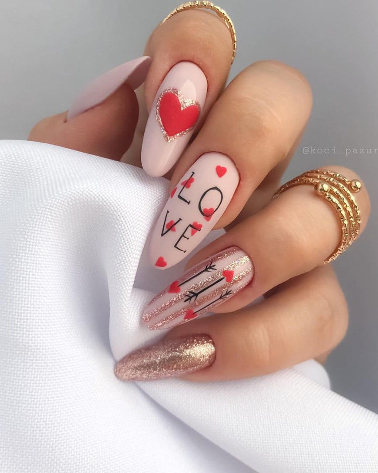 Long Almond Nail Art for Valentines