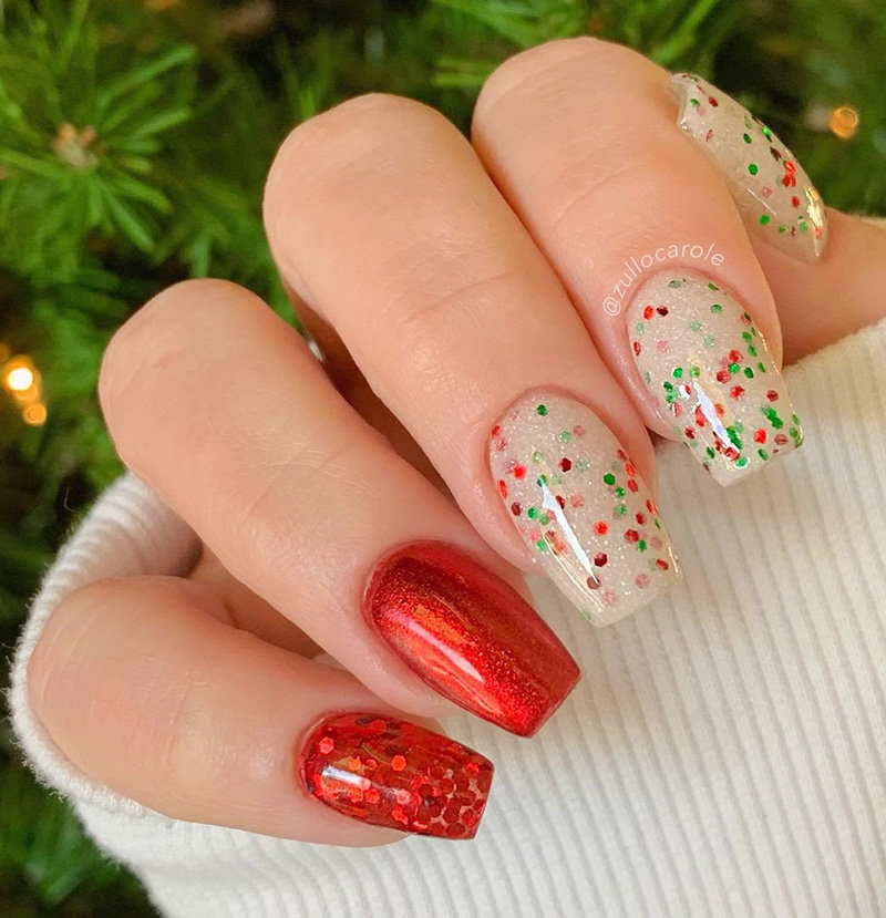 Red Christmas Coffin Nails Design