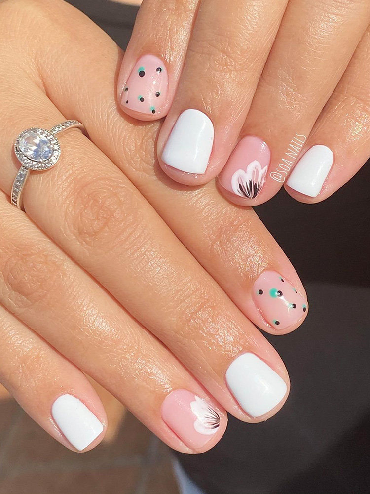 Simple Pink and White Nail Art Ideas